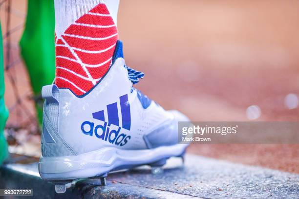 A detailed view of the Adidas cleat of Willy Adames of the Tampa Bay Rays before the game against the Miami Marlins at Marlins Park on July 3 2018 in...
