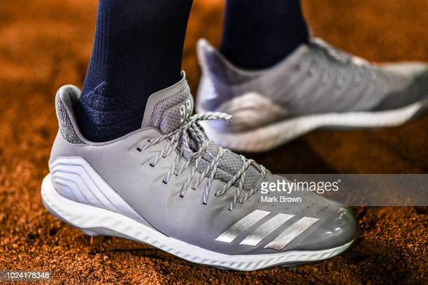A detailed view of the Adidas cleat worn by Aaron Judge of the New York Yankees in action against the at Marlins Park on August 21 2018 in Miami...