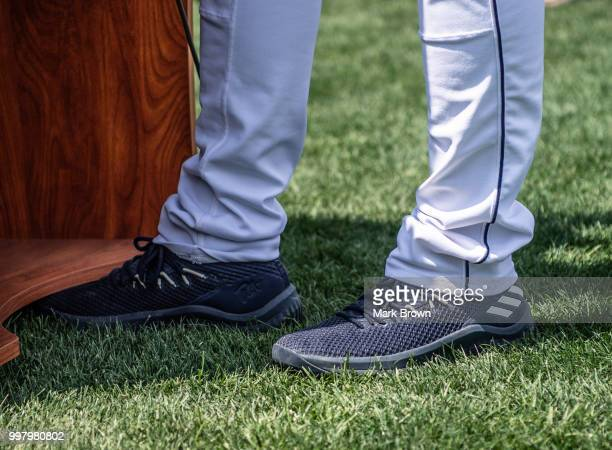 A detailed view of the Adidas cleats worn by Tim Tebow of the Eastern Division AllStars during a press conference with the media before the 2018...