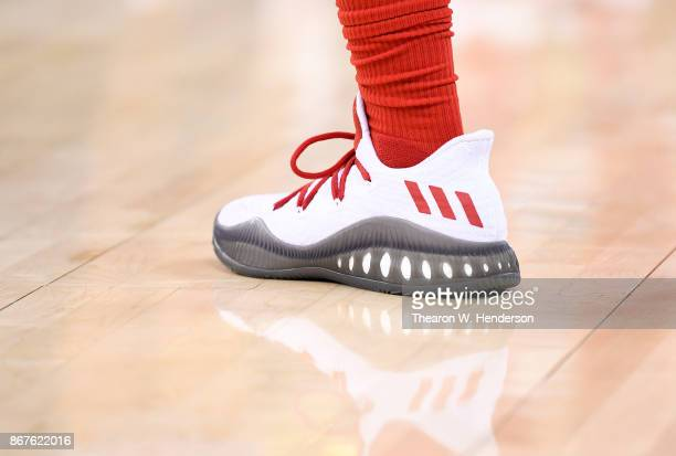 A detailed view of the Adidas Crazy Explosive Primeknit basketball shoes worn by Kyle Lowry of the Toronto Raptors against the Golden State Warriors...