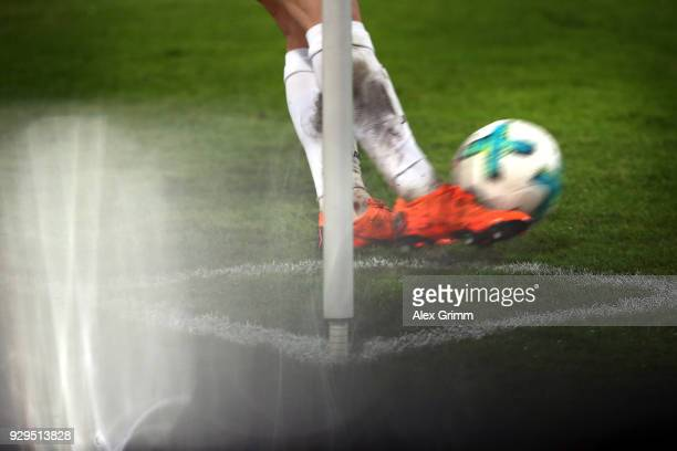 A detailed view of the adidas matchball Torfabrik before a corner kick during the 3 Liga match between Karlsruher SC and SG Sonnenhof Grossaspach at...