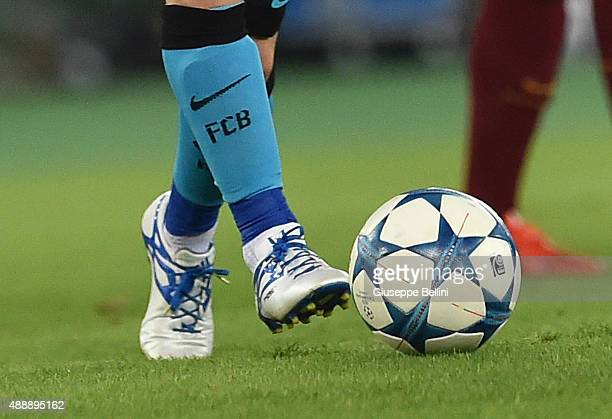 A detailed view of the Adidas shoes worn by Lionel Messi of FC Barcelona during the UEFA Champions League Group E match between AS Roma and FC...