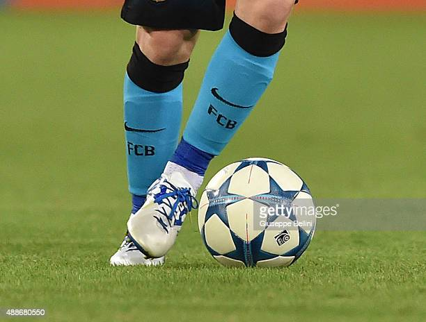 A detailed view of the Adidas shoes worn by Lionel Messi of FC Barcelona in action during the UEFA Champions League Group E match between AS Roma and...