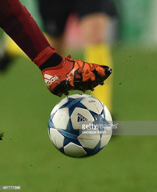 A detailed view of the Adidas shoes worn by Mohamed Salah of AS Roma with the official ball of Adidas during the UEFA Champions League Group E match...