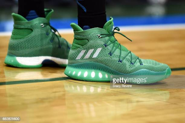 A detailed view of the Adidas sneakers worn by Andrew Wiggins of the Minnesota Timberwolves during a game against the Milwaukee Bucks at the BMO...