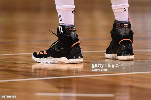 A detailed view of the Adidas sneakers worn by Derrick Rose of the New York Knicks during a game against the Milwaukee Bucks at BMO Harris Bradley...