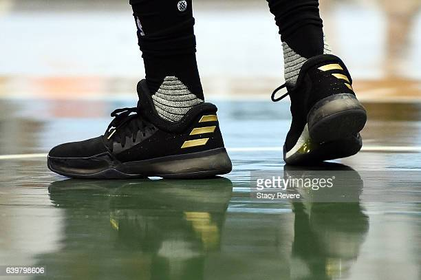 A detailed view of the Adidas sneakers worn by James Harden of the Houston Rockets during a game against the Houston Rockets at BMO Harris Bradley...