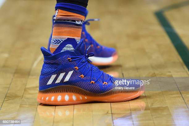 A detailed view of the Adidas sneakers worn by Kristaps Porzingis of the New York Knicks during a game against the Milwaukee Bucks at the BMO Harris...