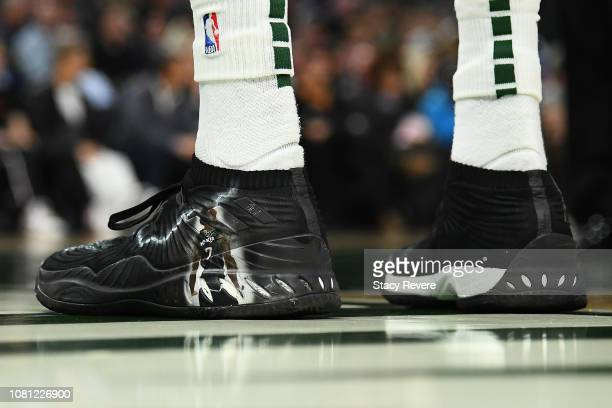 A detailed view of the Adidas sneakers worn by Thon Maker of the Milwaukee Bucks during a game against the Cleveland Cavaliers at Fiserv Forum on...