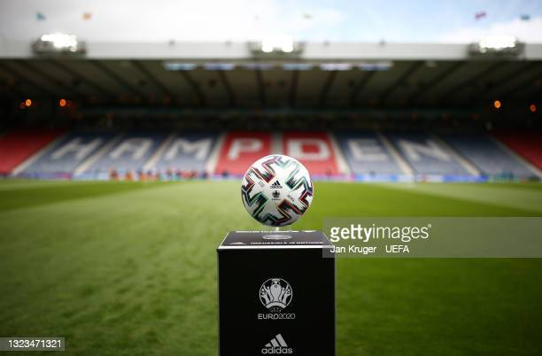 Detailed view of the Adidas Uniforia match ball prior to the UEFA Euro 2020 Championship Group D match between Scotland v Czech Republic at Hampden...