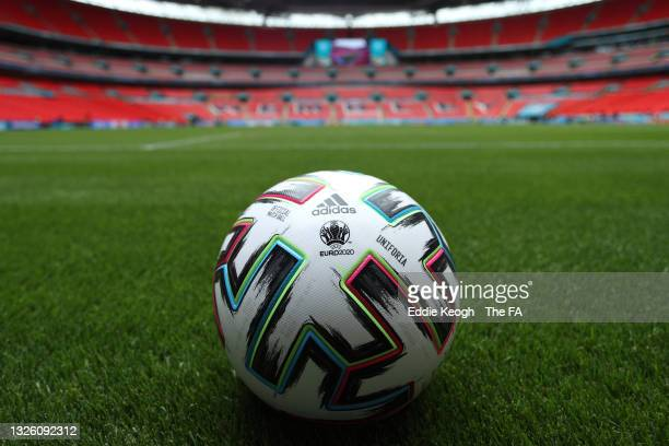 Detailed view of the Adidas Uniforia match ball prior to the UEFA Euro 2020 Championship Round of 16 match between England and Germany at Wembley...