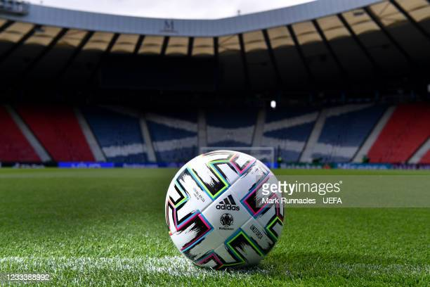 Detailed view of the Adidas Uniforia official match ball prior to the UEFA Euro 2020 Championship is seen inside Hampden Park stadium ahead of the...