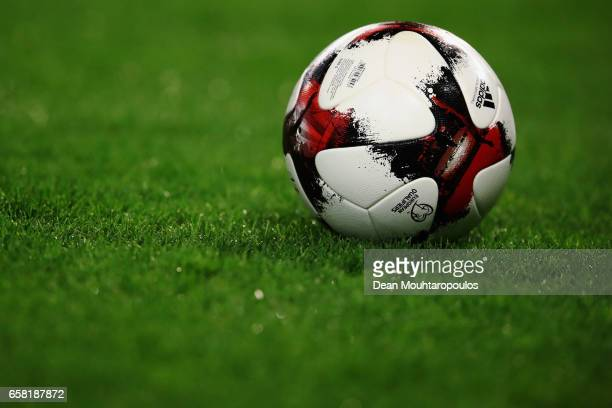 A detailed view of the adoidas match ball during the FIFA 2018 World Cup Group H Qualifier match between Belgium and Greece at Stade Roi Baudouis on...