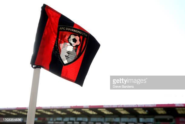 Detailed view of the AFC Bournemouth corner flag inside the stadium prior to the Premier League match between AFC Bournemouth and Aston Villa at...
