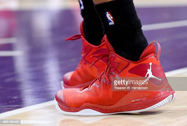 A detailed view of the Air Jordan baskeball shoes worn by LaMarcus Aldridge of the Portland Trail Blazers against the Sacramento Kings at Sleep Train...