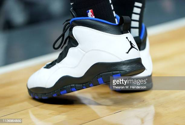 A detailed view of the Air Jordan X's basketball shoes worn by Dewayne Dedmon of the Atlanta Hawks during an NBA basketball game against the...
