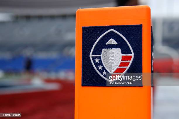 Detailed view of the Alliance of American Football logo on an end zone pylon before the game between the Memphis Express and Birmingham Iron at...