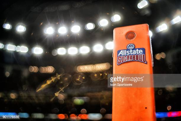 A detailed view of the Allstate Sugar Bowl logo is seen on an endzone pylon prior to the start of the College Football Playoff Semifinal at the...