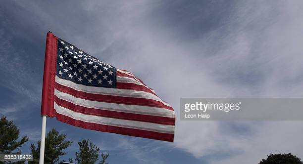 A detailed view of the American Flag on the ninth hole during the final round of the LPGA Volvik Championship on May 29 2016 at Travis Pointe Country...