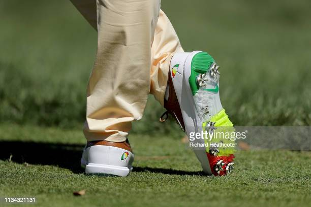 A detailed view of the Arnold Palmer inspired shoes of Rory McIlroy of Northern Ireland during the first round of the Arnold Palmer Invitational...