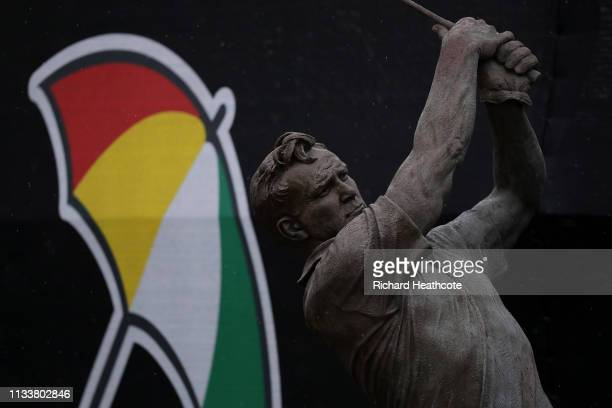 A detailed view of the Arnold Palmer Statue during a practice round for the Arnold Palmer Invitational Presented by Mastercard at the Bay Hill Club...