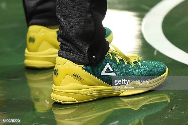 A detailed view of the Australian themed Peak 'Delly 1' sneakers worn by Matthew Dellavedova of the Milwaukee Bucks prior to a game against the...