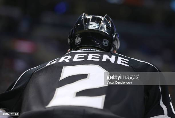 A detailed view of the back of Matt Greene of the Los Angeles Kings' jersey during the NHL game against the San Jose Sharks at Staples Center on...