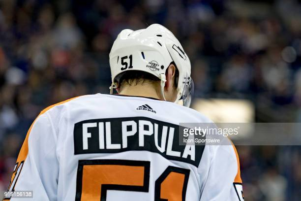 A detailed view of the back of Philadelphia Flyers center Valtteri Filppula helmet in the second period of a game between the Columbus Blue Jackets...
