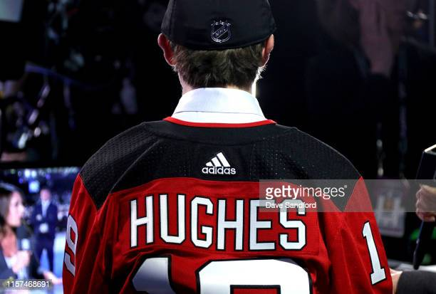 A detailed view of the back of the jersey of Jack Hughes first overall pick by the New Jersey Devils is seen during the first round of the 2019 NHL...