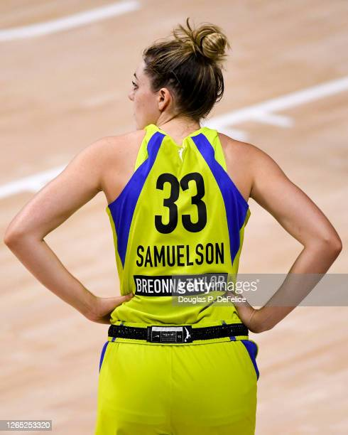 Detailed view of the back of the jersey of Katie Lou Samuelson of the Dallas Wings showing the name of Breonna Taylor during the fourth quarter...