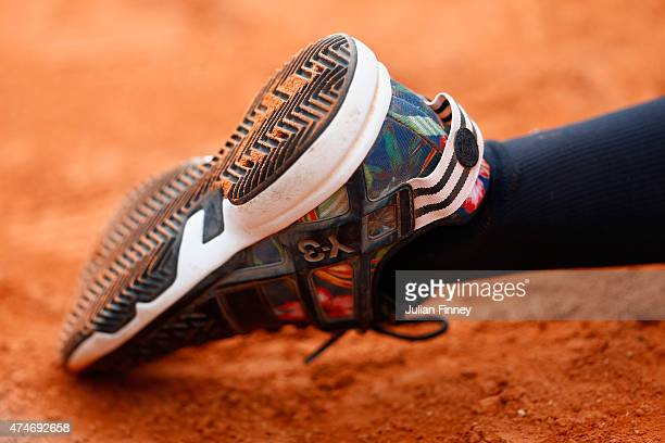 A detailed view of the ball kids trainer shoe on day one of the 2015 French Open at Roland Garros on May 24 2015 in Paris France