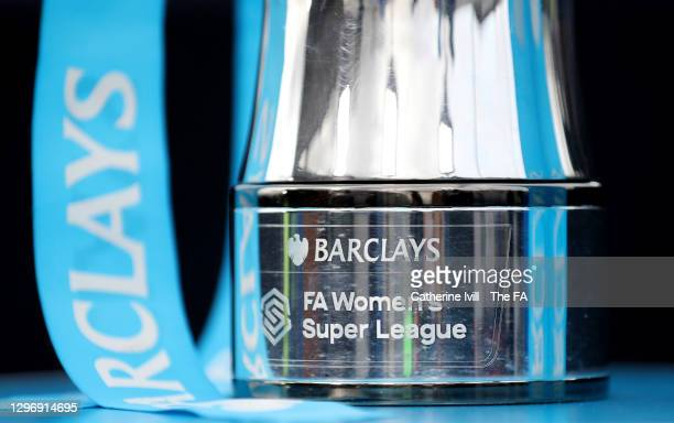 Detailed view of the Barclays FA Women's Super League trophy seen on display at the side of the pitch prior during the Barclays FA Women's Super...