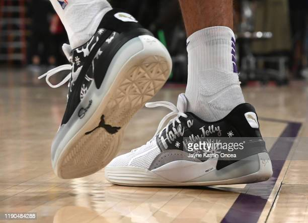 Detailed view of the basketball sneakers worn by Danny Green of the Los Angeles Lakers for the game against the Los Angeles Clippers at Staples...