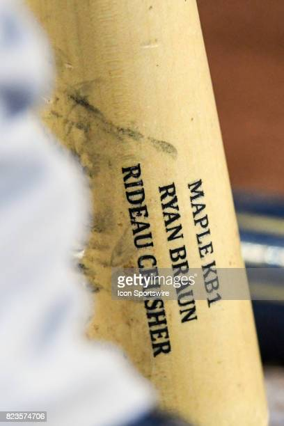 A detailed view of the bat of Milwaukee Brewers left fielder Ryan Braun during an MLB game between the Milwaukee Brewers and the Washington Nationals...