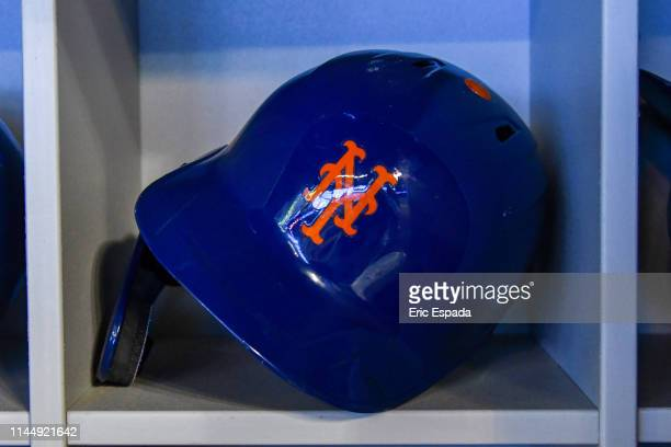 Detailed view of the batting helmet worn by Robinson Cano of the New York Mets before the start of the game against the Miami Marlins at Marlins Park...