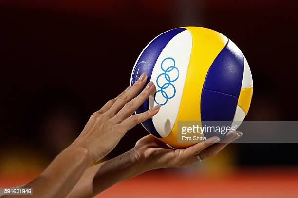 Detailed view of the beach volleyball is seen during the Beach Volleyball Women's Bronze medal match between Larissa Franca Maestrini of Brazil and...