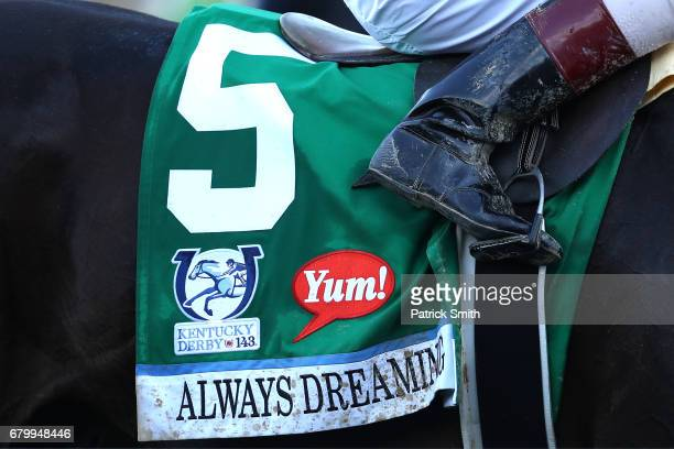 A detailed view of the bib of horse Always Dreaming after the 143rd running of the Kentucky Derby at Churchill Downs on May 6 2017 in Louisville...