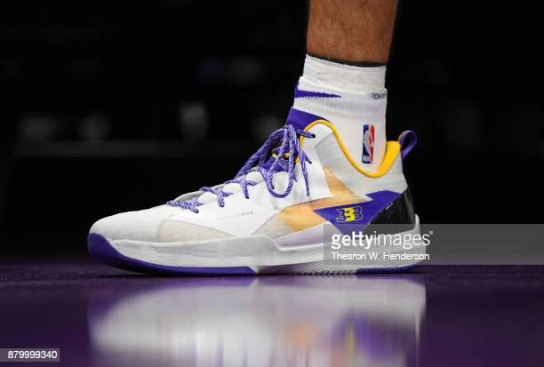 A detailed view of the Big Baller Brand 'ZO2 Prime' basketball shoes worn by Lonzo Ball of the Los Angeles Lakers against the Sacramento Kings during...