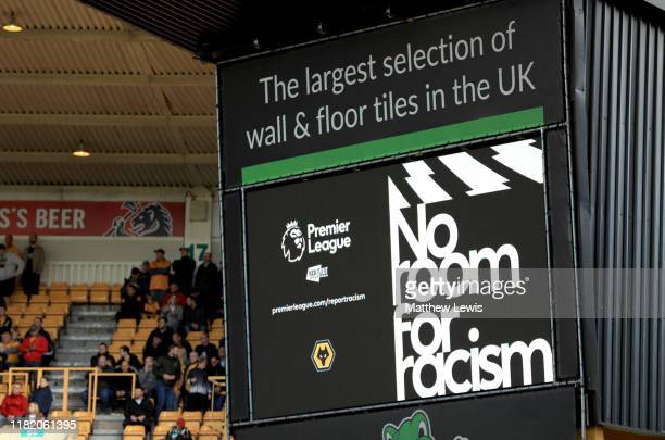 A detailed view of the big screen as it shows as No Room for Racism message prior to the Premier League match between Chelsea FC and Newcastle United...