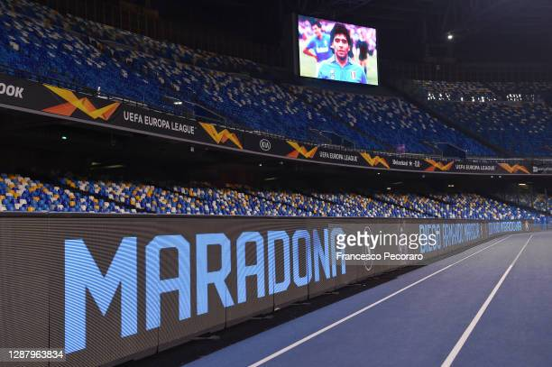 Detailed view of the big screen showing a picture in memory of the deceased Diego Maradona prior to the UEFA Europa League Group F stage match...