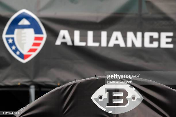 A detailed view of the Birmingham Iron logo and the Alliance of American Football logo prior to a game between the Birmingham Iron and the Memphis...