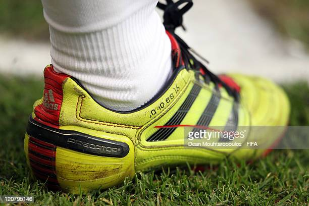 A detailed view of the boot of Sergio Canales of Spain during the FIFA U20 World Cup Round of 16 match between Spain and Korea Republic at the...