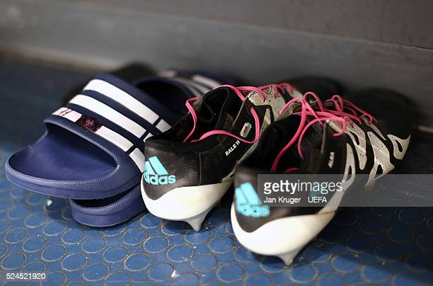 A detailed view of the boots of Gareth Bale of Real Madrid ahead of the UEFA Champions League semi final first leg match between Manchester City FC...