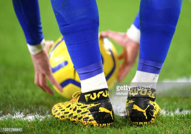 Detailed view of the boots of James Maddison of Leicester City as he prepares to take a corner during the Premier League match between Leicester City...