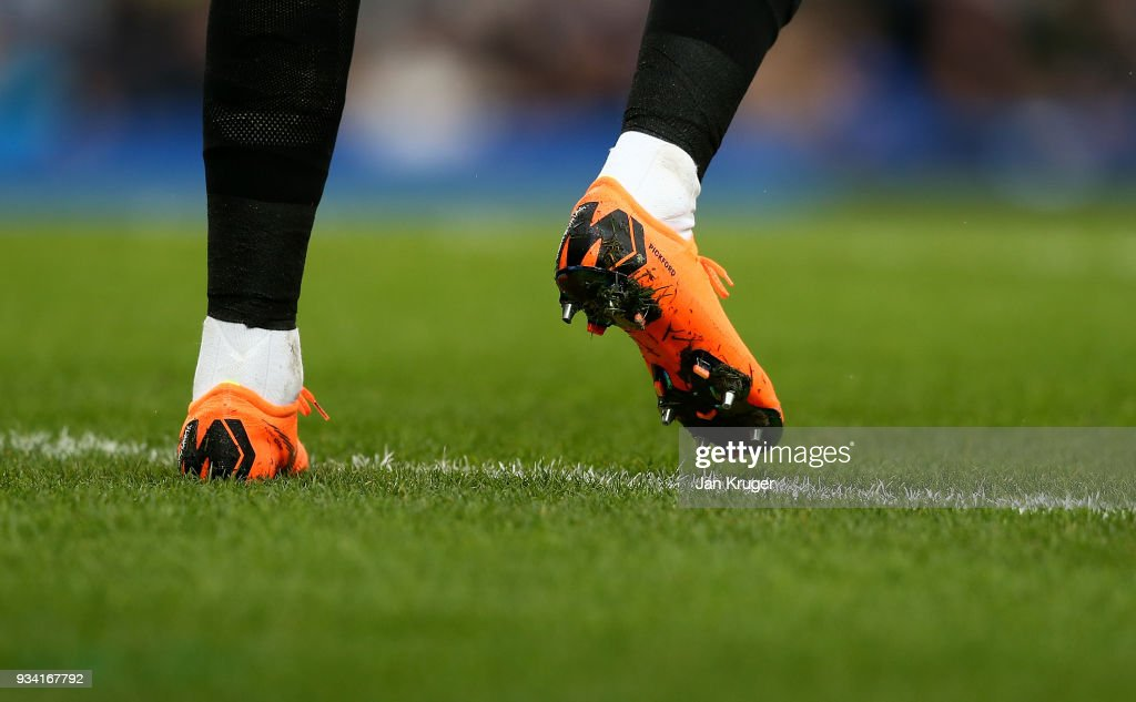 A detailed view of the boots of Jordan Pickford, goalkeeper of Everton during the Premier League match between Everton and Brighton and Hove Albion at Goodison Park on March 10, 2018 in Liverpool, England.