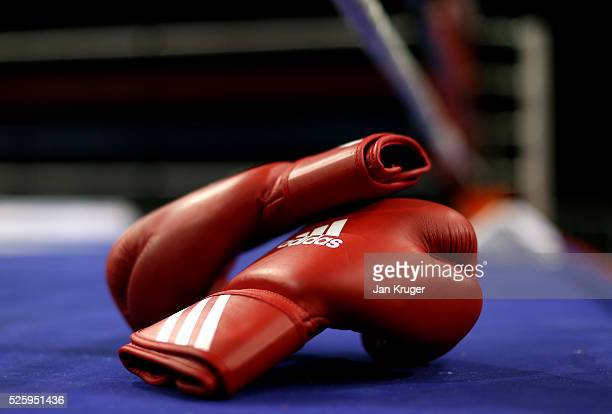 A detailed view of the boxing gloves ringside during day one of the Boxing Elite National Championships at Echo Arena on April 29 2016 in Liverpool...
