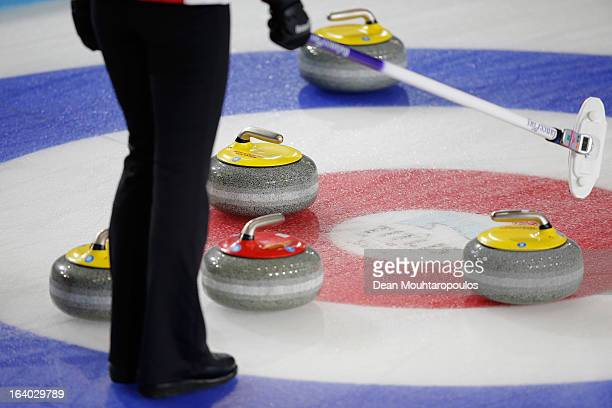A detailed view of the broom rings or house and stones on Day 4 of the Titlis Glacier Mountain World Women's Curling Championship at the Volvo Sports...