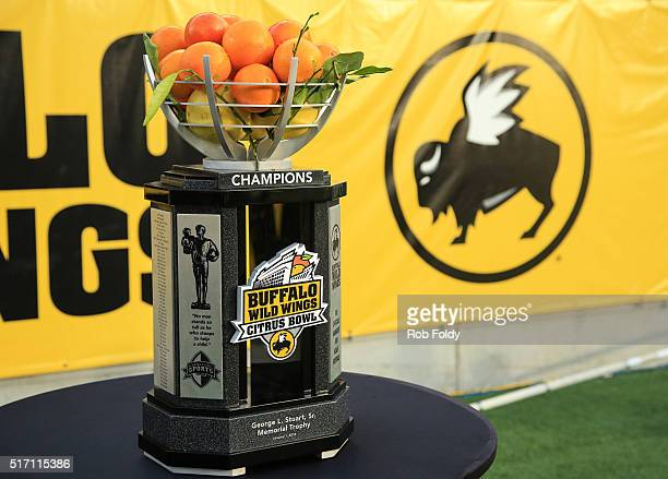 A detailed view of the Buffalo Wild Wings Citrus Bowl trophy during game between the Florida Gators and the Michigan Wolverines at the Orlando Citrus...