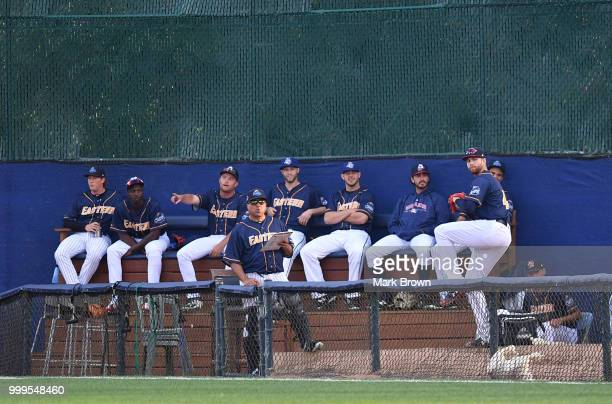 A detailed view of the bullpen for the Eastern Division All Stars during the 2018 Eastern League All Star Game at Arm Hammer Park on July 11 2018 in...