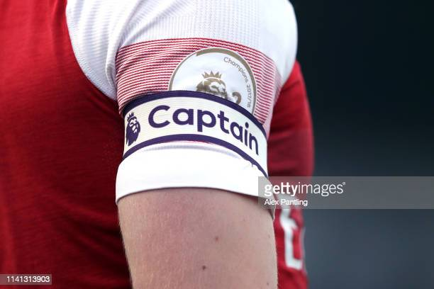 Detailed view of the captains armband during the Premier League 2 match between Arsenal and Derby County at Meadow Park on April 08, 2019 in...